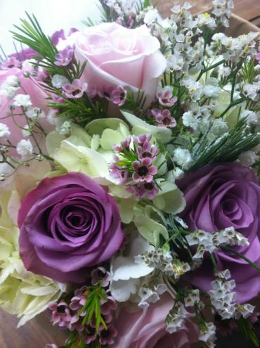 dark purple, pink and white bouquet