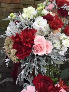 Light pink, burgundy and white bouquet