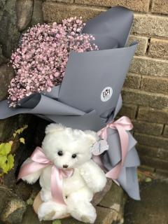 White Teddy Bear Breath Bouquet