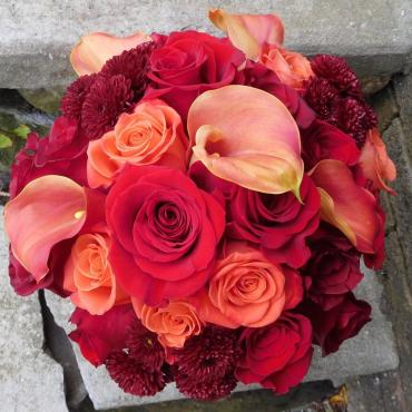 red and orange bouquet