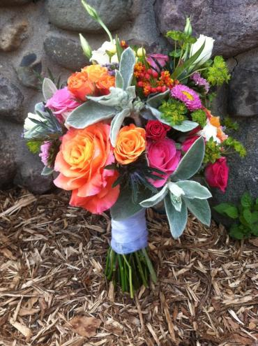 orange and hot pink wedding
