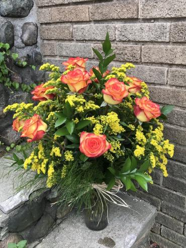 Autumn Roses Arranged