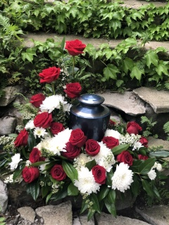 Red and White Urn Memorial