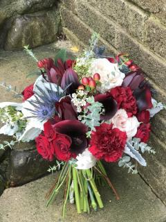 Burgundy and champagne bouquet
