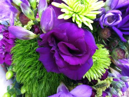 purple and lime green bouquet
