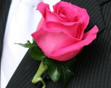 Hot Pink Rose Boutonniere (B7)