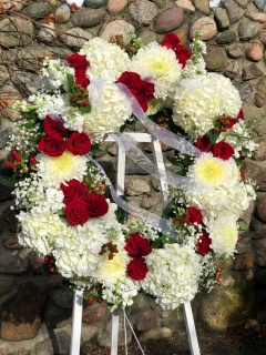 Red and White Floral Tribute