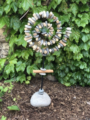 Spiral Garden Stand with Glass Ball