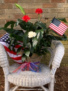Patriotic Peace Lily with flowers