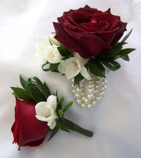 Matching Red Rose Boutonniere & Corsage (C18)