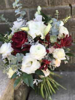 burgundy and white bouquet
