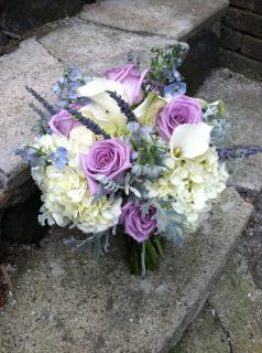 purple, blue and white bouquet