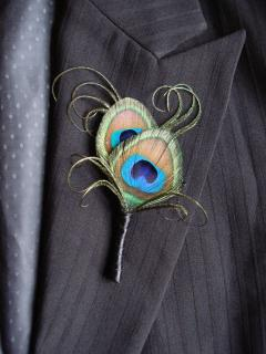 Peacock Feather Boutonniere (B1)