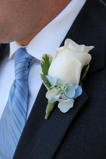 White Rose Boutonniere with Hydrangea (B11)