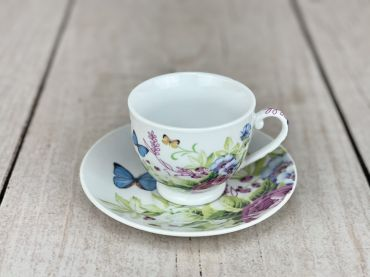 Butterflies and Flowers Tea Cup