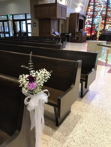 Flowers for the church pews