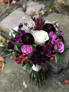 plum, burgundy and white bouquet