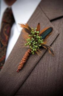 Eucalyptus & Feather Boutonniere (B5)